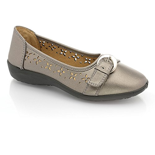 piatto Comfort da Dolly scarpe lavoro da Nero Leather Perfetto Me fiocco Ballerina Buckle pompe classica Pewter mettere Faux Ballerina donna Casual YZOZ5q0