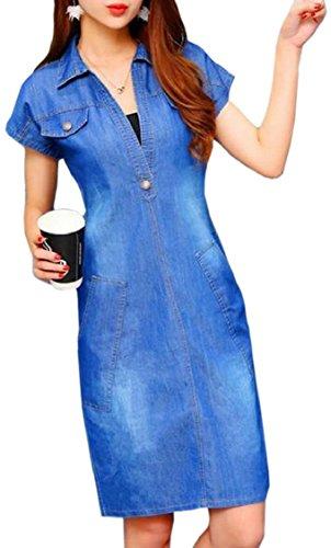 Jaycargogo Femmes Robe À Manches Courtes En Denim Baissez Col Mini-robe Bleue Décontractée