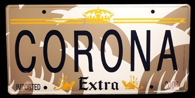 corona-extra-metal-tacker-wall-sign-shape-of-a-license-plate-13-inches-by-24-inches-