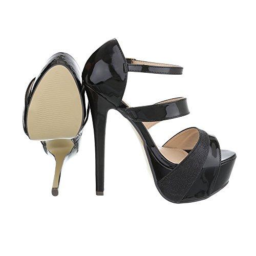 Ital-Design High Heel Sandaletten Damenschuhe High Heel Sandaletten Pfennig-/Stilettoabsatz High Heels Schnalle Sandalen & Sandaletten Schwarz