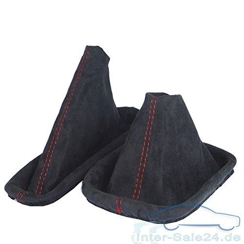 L/&P Car Design GmbH L/&P A0102 Schaltsack Schaltmanschette Handbremsmanschette aus weicher Microfaser in Schwarz mit roter Naht Rot
