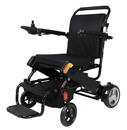 SELF Motorized Wheelchair Foldable Electric Wheelchair - FDA Approved, with 2 Powerful Motors, Durable, Safe, Lightweight, Easy to Store, Easy to Carry (Black)