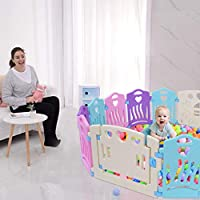 Foldable Baby Playpen - 14 Panel Kids Activity Center Portable Playard, Indoor and Outdoor Baby Fence - Safe Play Yard, Door Lock & Stable Suction Cup Play Pen with Games & Gates for Infants