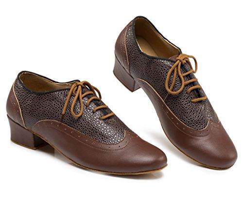 Toe Lace Men's Shoes Dance Salsa Tango Morden Latin Professional Ballroom CRC Round up PU Brown Jazz Leather Stylish Rumba dTtxwq8I