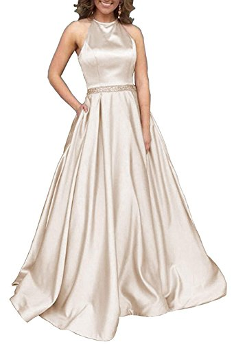 Prom Dresses Long Halter Satin Beaded Backless Formal Evening Gown with Pockets Champagne Size 16 -