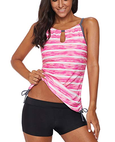 Eternatastic Women's Two Piece Strips Printed Tie Side Tankini Tops Swimsuit Set XXL Pink