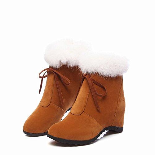 Ciondolo Donna Moda Inverno Zeppe Stivali Da Neve Corta Giallo Scuro