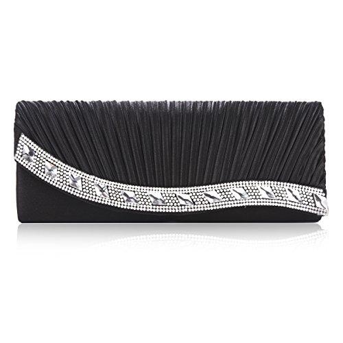 Jewel Womens Damara Satin Handbag Black Luxurious q8gAgBU