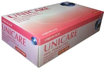 Unigloves UCV1204 - Guantes de vinilo sin polvos (tamaño grande, 100 unidades)