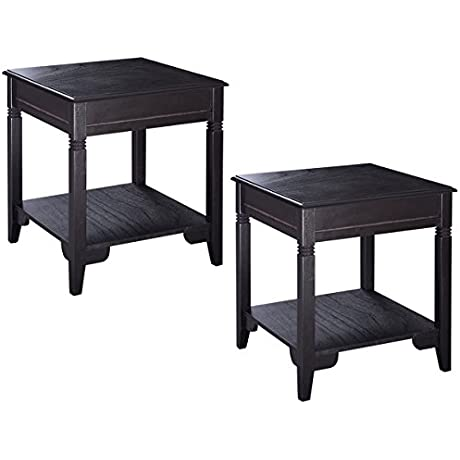 Giantex 2PCS Nolan End Table Durable Quality Furniture Shelf Decor Home Living Room