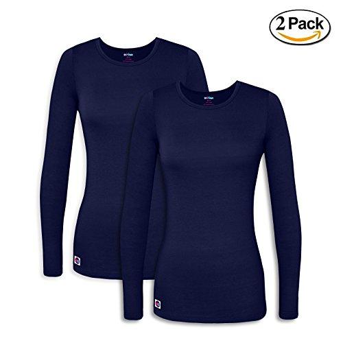 Sivvan 2 Pack Women's Comfort Long Sleeve T-Shirt / Underscrub Tee - S8500-2 - NVY - XL