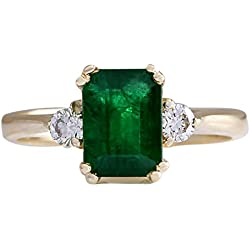 1.94 Carat Natural Emerald And Diamond Ring 14K Solid Yellow Gold