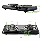 Ovente Electric Double Coil Burner 5.7 & 6 Inch Hot Plate 1700 Watt Powered Portable Kitchen Cooktop with Adjustable Temperature Control & Non-Slip Rubber Feet, Great for Outdoor Grill, Black BGC102B