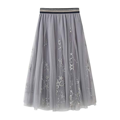 (NEARTIME Women Mesh Skirt, Ladies One Size Embroidered Dress Three-Dimensional Leaf Fluffy Chiffon Skirts Pants)
