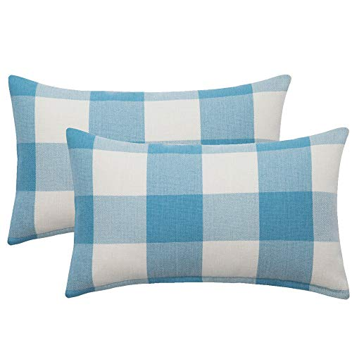 MIULEE Pack of 2 Classic Retro Checkers Plaids Cotton Linen Soft Solid Sky Blue and White Decorative Throw Pillow Covers Home Decor Design Cushion Case for Sofa Bedroom Car 12 x 20 Inch 30 x 50 cm