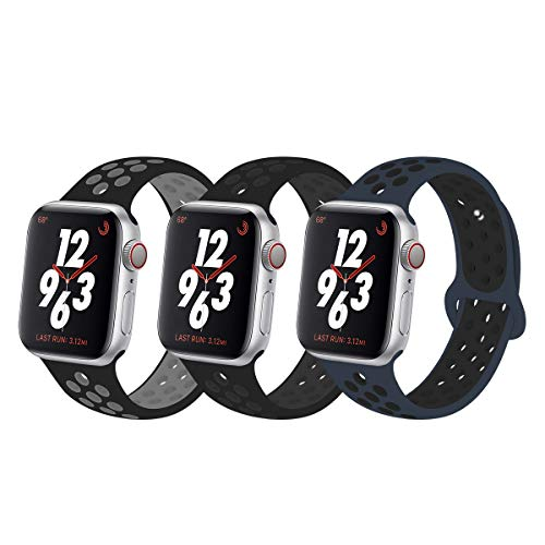 YC YANCH Greatou Compatible for Apple Watch Band,Soft Silicone Sport Band Replacement Wrist Strap Compatible for iWatch Apple Watch Series 4/3/2/1,Nike+,Sport,Edition,38mm 40mm M/L