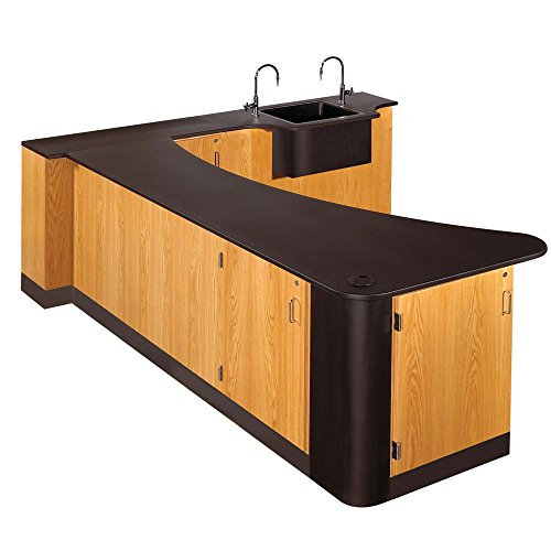 Diversified Woodcrafts 3416K-L UV Clear Finish Solid Oak Wood Sink in Peninsula Workstation, Left Side with Epoxy Resin Top, 96