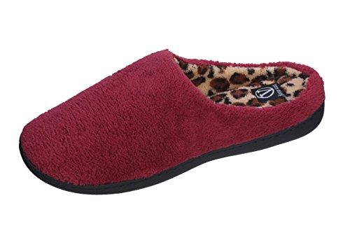 Joan Vass Womens Gorgeous Comfort Clog Slipper Con Grazioso Vino Interno Stampa Leapord