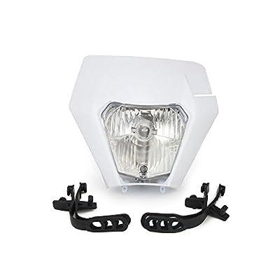 Universal 12V 35W Motorcycle 2020 Supermoto Halogen Headlight Indicator Fairing Lampshade for Dirt Pit Bike Motocross Honda Yamaha Suzuki Kawasaki KTM (White): Automotive
