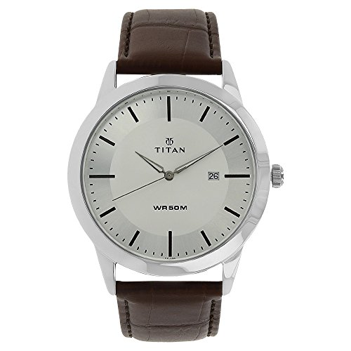 - Titan Neo Workwear Mens Quartz Analog Watch - Brown Leather Strap - Silver Metal Face
