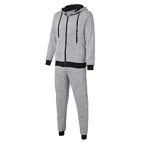 Sumen Clearance!Mens Tracksuit Set Contrast Cord Hooded Jacket Bottom Jogger Gym Sport Suit by Sumen Men