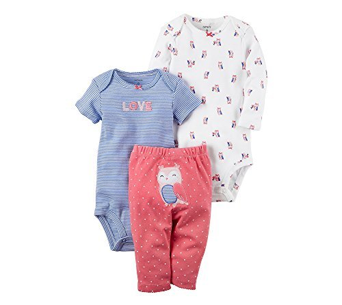 (Carters Baby Girls 3 Piece Owl Set,Pink ,Preemie )