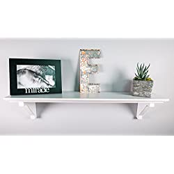 "White Distressed Standard Wood Shelf - 5"" Deep"