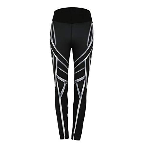 Clearance items !!! Yoga Pants Geometry Print Sports Gym Leggings Pants (Black, XL)