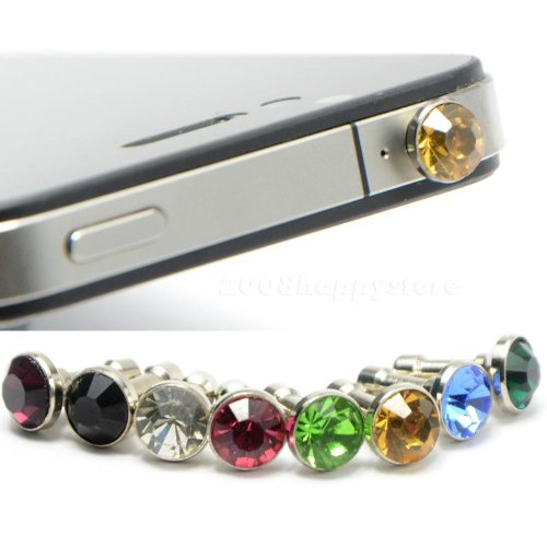 niceEshop(TM) Random Color Diamond Anti Dust 3.5mm Earphone Jack Plug Stopper for iPhone 4 4S 5 Samsung Galaxy S2 S3