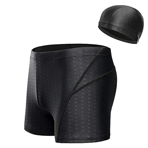 QuickDry Swim Brief for Men, Shark Grain Athletic SwimTrunks Square Leg Swimsuit with Swim Cap Gift (Black, L)