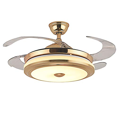 42''Modern Golden LED Ceiling Fan Light with ABS Retractable Blade with Remote Control Three-Color Adjustable Invisible Fan Chandelier Indoor Minimalist Art Deco Bedroom Living Room Dining Room