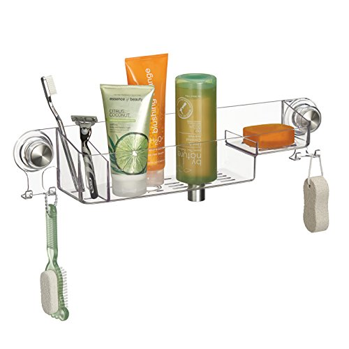 mdesign-suction-bathroom-shower-combo-basket-for-shampoo-conditioner-soap-clear-brushed-stainless-st