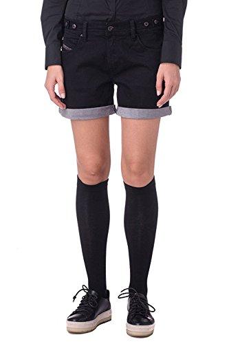 (Diesel Women ALAISI Stretch Denim Shorts (Black/Denim, 29))
