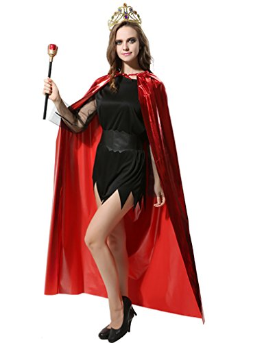 Aorme Bronzing Halloween Hooded Cloak Cape Role Play Medieval Costumes (Red with Crown Sceptre)