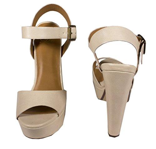 Bosco! Deliziose Scarpe Aperte Da Donna Con Plateau E Cinturino Alla Caviglia, Fibbia Beige 7.5 M Us