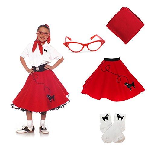 Red Poodle Skirt Costumes (Hip Hop 50s Shop 4 Piece Child Poodle Skirt Costume Set, Size Large Red)