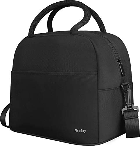 Large Lunch Bag Insulated Lunch Box for Women and Men Light Durable Tote BagAdjustable Shoulder Strap for Office Work School Picnic Hiking Beach Fishing-(Black)