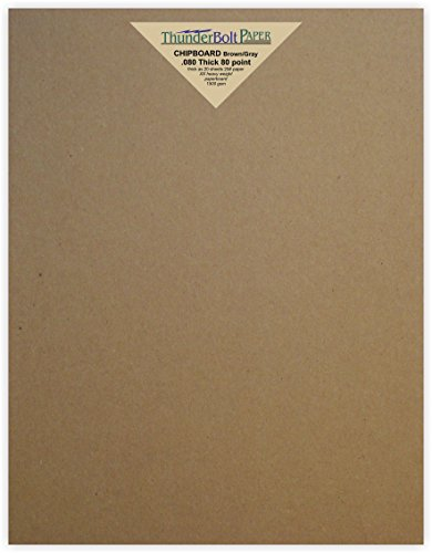 500 Sheets Brown Chipboard 80 Point Extra Thick 8.5 X 11 Inches Letter Size .080 Caliper XX Heavy Cardboard as Thick as 20 Sheets of Regular Paper by ThunderBolt Paper