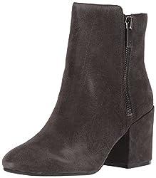 Kenneth Cole New York Women S Rima Bootie With Double Zip Block Heel Suede Boot Asphault 10 M Us