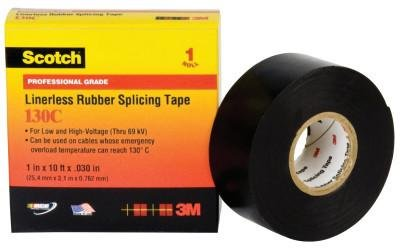 3M Electrical 41754 Black Scotch Linerless Splicing Tapes 130C, 30