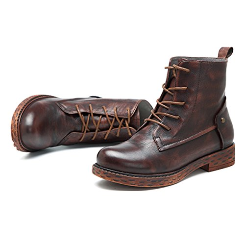 Socofy Ankle Bootie,Womens Vintage Handmade Leather Boot Lace Up Ankle Shoes Oxford Boots Coffee