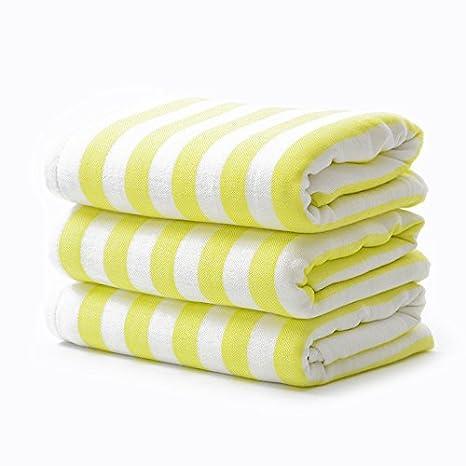 Mano towel-bamboo Cable de toalla de baño bebé Terry suave toalla de agua niño es bambú algodón doble patrón de rayas, amarillo: Amazon.es: Hogar