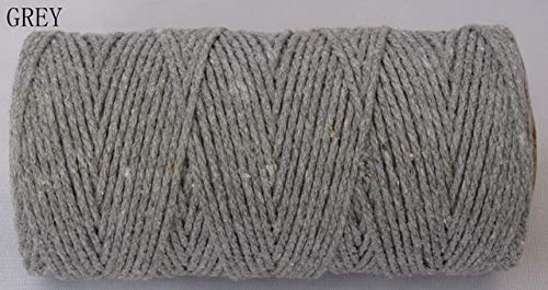 (FINCOS 1 Piece Solid Cotton Baker Twine (110Yards/spool) Divine Twine, Cotton Rope 10 Kinds Color - (Color: Grey) )