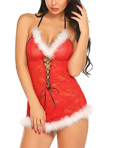 Gladiolus Womens Christmas Lingerie Red Babydoll Lace Santa Dress Chemise Set