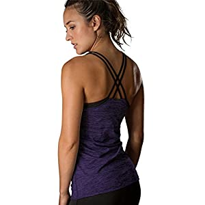 icyzone Women Workout Yoga Spaghetti Strap Racerback Tank Top With Built In Bra(S, Purple)