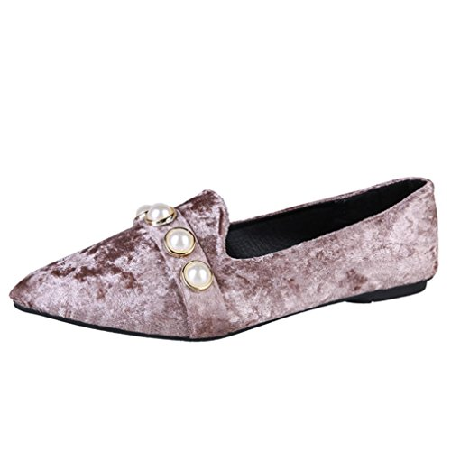 Bed 35' Khaki - HOT Sale,AIMTOPPY Women Pointed shallow mouth shoes female pearl flat shoes Pedal Pea Shoes (US:6.5, Khaki)
