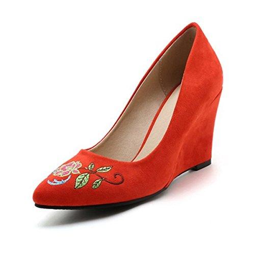 Soirée Confort Nubuck Appliqué Chaussures en EU39 CN39 Mariage Chaussures Rose DIMAOL Rouge Talons Pour Rouge Été Pour US8 Cuir Nouveauté UK6 Femmes Printemps amp; Talon wqTnX7xzO
