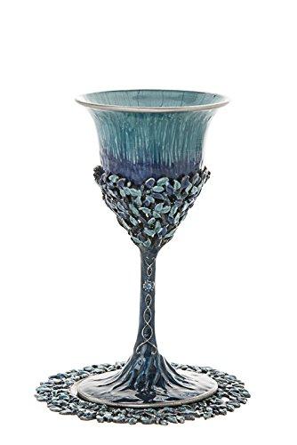 Jewish, Shabbat Jeweled Turquoise Enamel Kiddush Cup, Saucer included. 6.0'' x3.0'', Tray: 4.5''