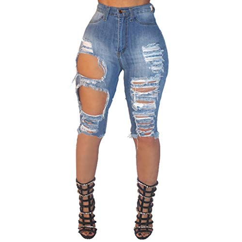 Ximandi Women's Ripped Distressed Washed Bermuda Above Knee Short Jeans Blue
