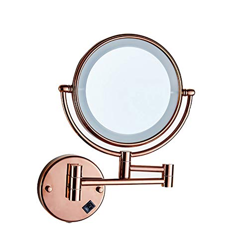 Vanity Mirror Hotel Telescopic Folding Wall-mounted Make Up Mirror Bathroom Double-sided Led Beauty Mirror With Light Concealed Wiring Plug (Color : Rose gold)